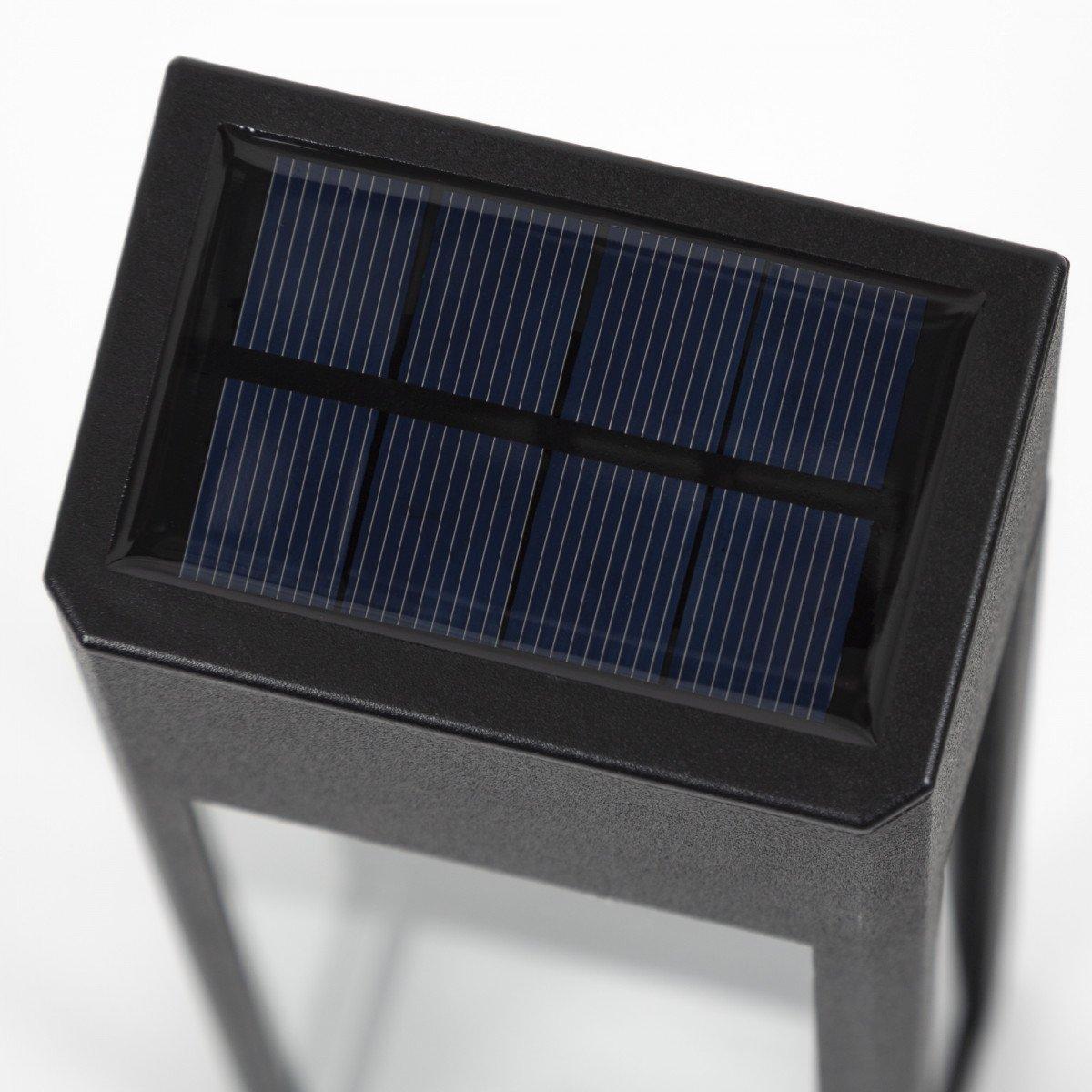sfeerverlichting buiten - Set LED solar Wandlamp Zwart Solario - Nostalux solar buitenlampen