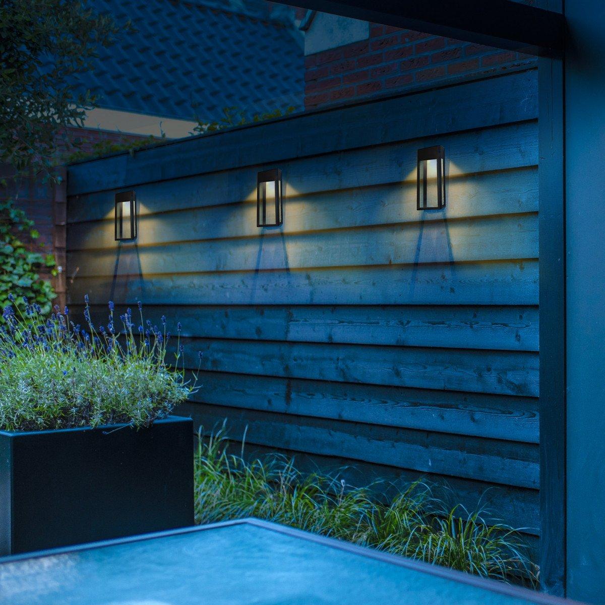 sfeerverlichting buiten - LED solar Wandlamp Zwart Solario - Nostalux solar buitenlampen