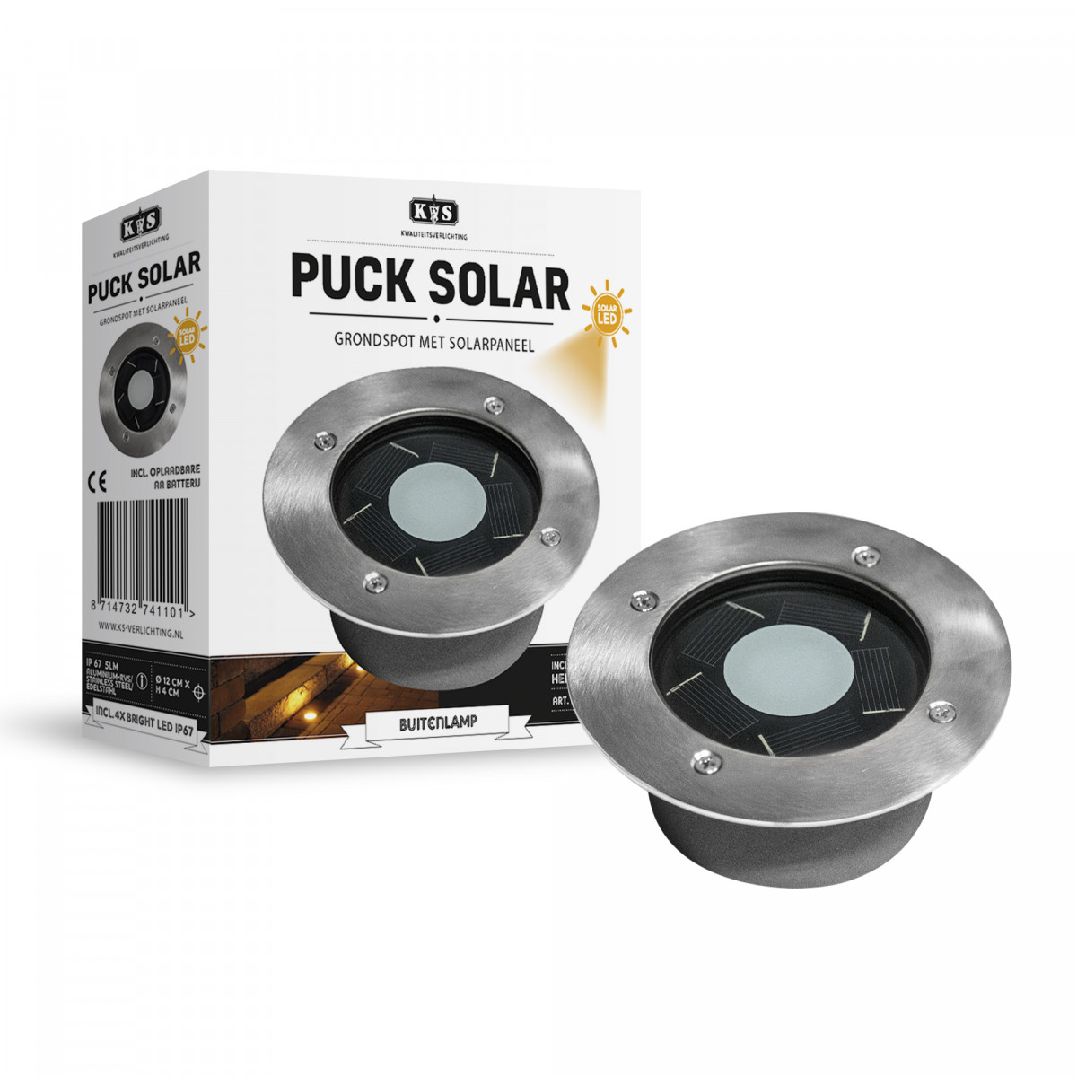 grondspots buiten - LED solar Grondspot Rond Puck solar set - nostalux tuinverlichting