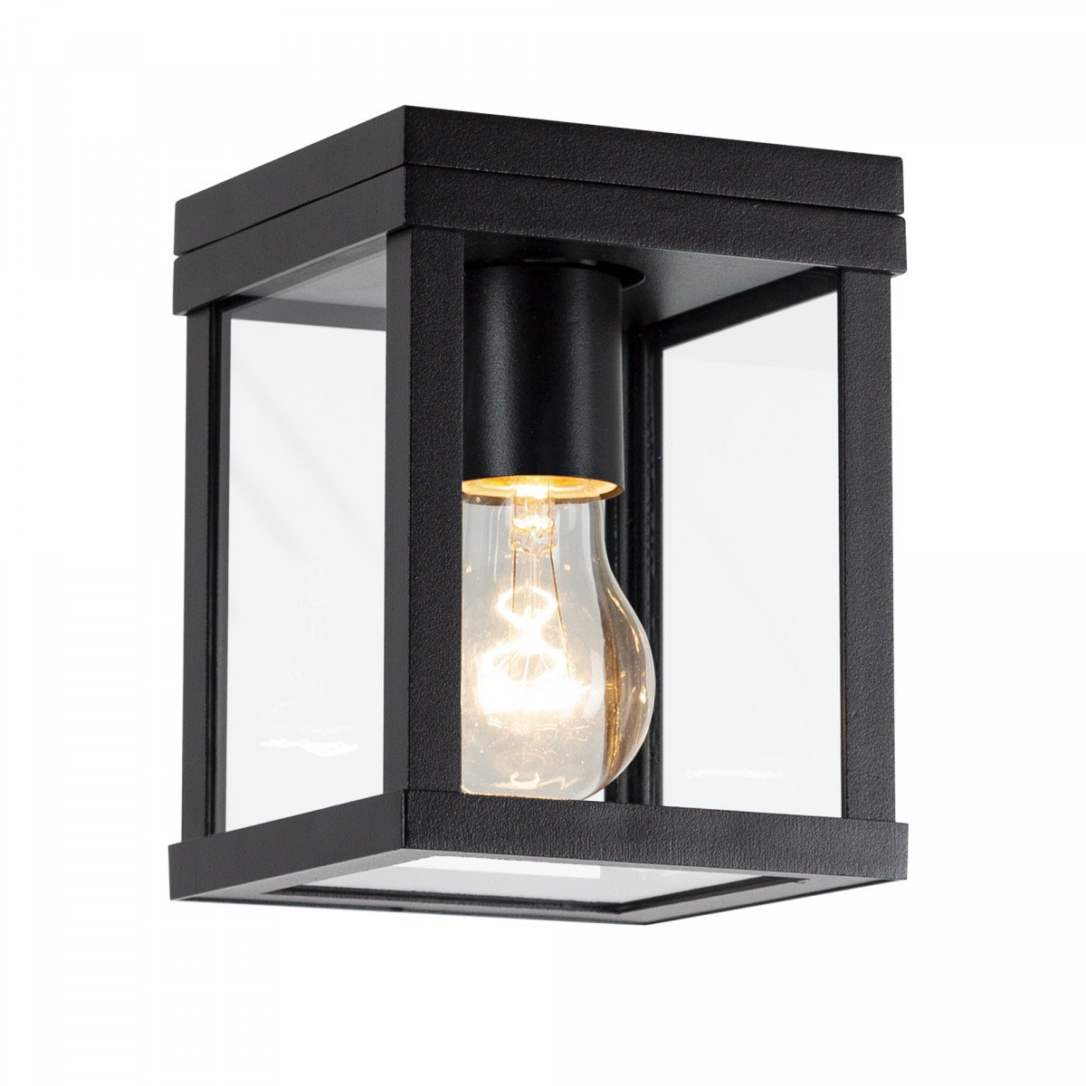 Buiten plafond lamp zwart frame met heldere glazen industrieel karakter stijlvol zwarte plafondverlichting KS plafondlamp Huizen
