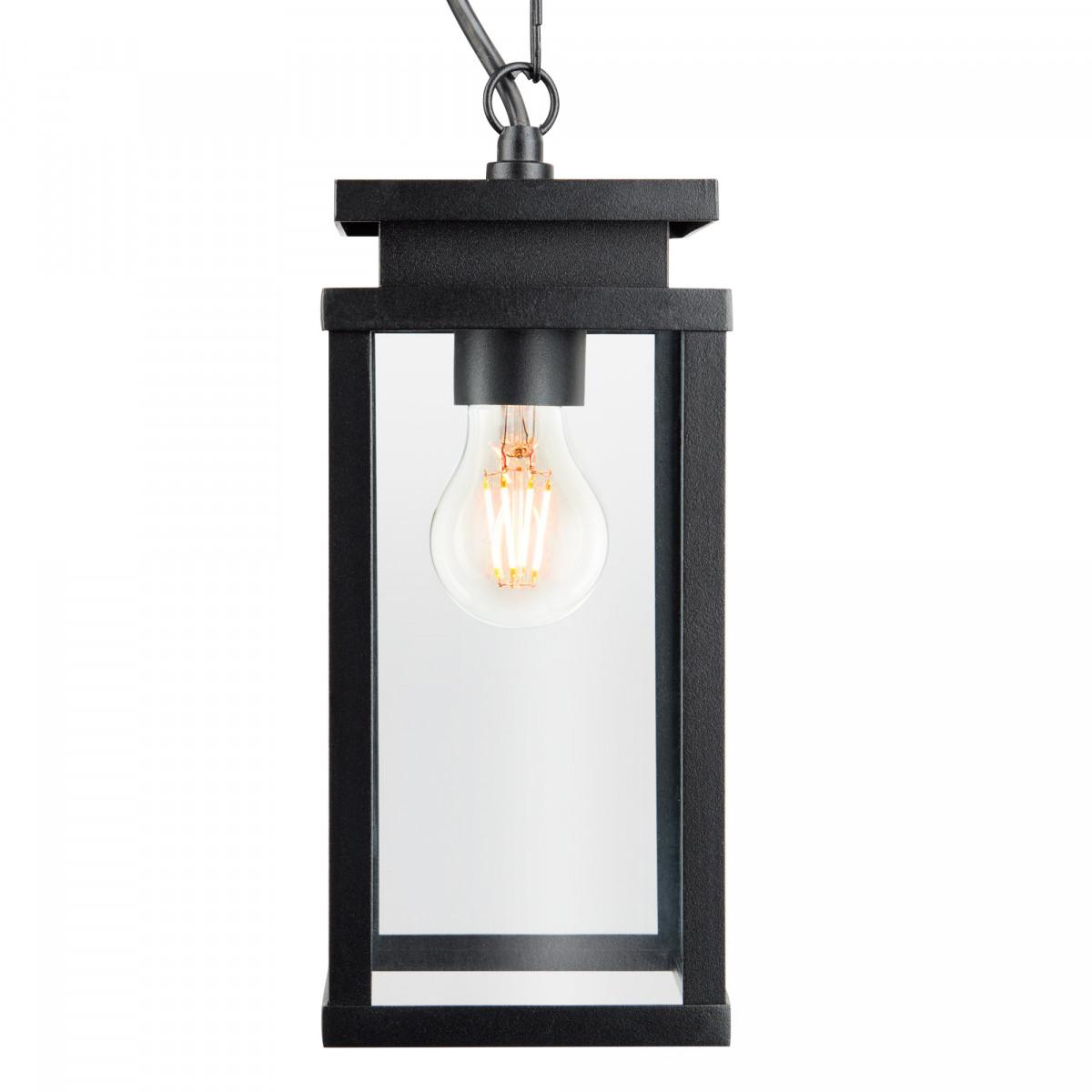 Buiten hanglamp zwart frame met helder glas aan ketting met plafondplaat, veranda lamp van KS Verlichting