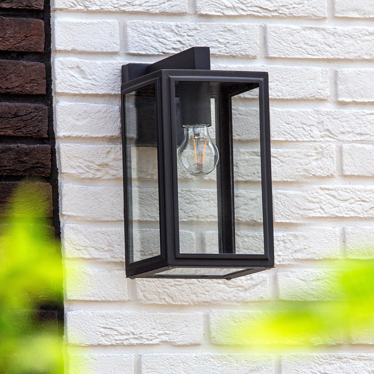 Buitenlamp zwart frame heldere beglazing, moderne wandlamp voor buiten, Soho